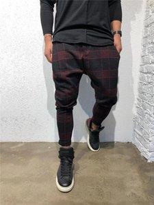 Sport Designer Mode Lange Hose mittlere Taillen-lose Drawstring Mens Kleidung Plaid 3D Digital Print Herren Pants