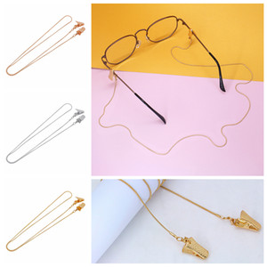 plata del oro de la cadena de clip de gafas máscara facial extensión de la cadena colgante titular de la máscara de la cuerda de metal gafas de moda 70cm FFA4403-1