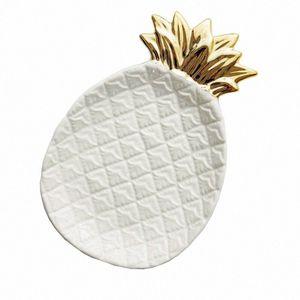 Piña cerámica almacenaje de la joyería bandeja de piña Pallet fruta seca Placa decoración del hogar Plate nwXr #