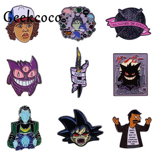 20pcs / lot J1437 Geekcoco Anime Naruto Character spilla in metallo mostro tascabile pin collare shirt jeans borsa Badge Backpack Pins