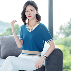 vDFa2 V-neck short-sleeved T-shirt women's clothing 2020 new summer ice silk knitwear T-shirt Short skirt skirt Korean style loose high wais