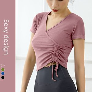 Women Loose Yoga Tops Fitness Sportswear T-Shirt Pilates Workout Open Back Short Sleeve Sexy Dance Top Cloth for Gym Exercise