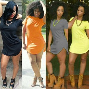 Candy Color Hip O-neck Casual Sheath Bodycon Dresses Women U Split Up Tshirt Dress Summer Solid