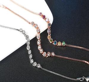 Fashion simple luxury round zircon single row full diamond crystal women's chain bracelet rose gold plated inlaid colorful zircon jewelry la