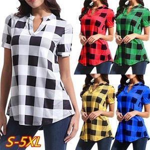 Loose Short Sleeve Contrast Color Long Tops Plaid Printed V Neck Womens Shirts Summer