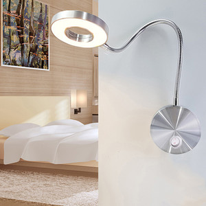 La pared de luz LED 5W lámpara de pared flexible Mangueras Home Hotel de noche Lámpara de lectura del libro de manera modernos Luces Bombillas LED de aluminio