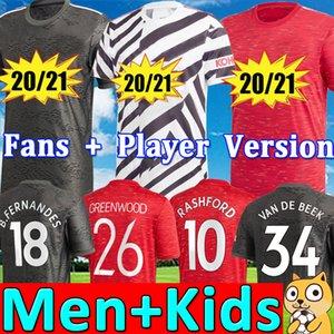 إصدار لاعب مانشستر يونايتد RASHFORD FERNANDES 20 21 Manchester Soccer United JREENWOOD Van de Beek UTD 2020 2021 طقم كرة القدم قميص أطقم أطفال للرجال