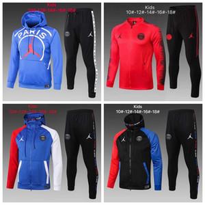 20-21 Kids soccer tracksuit jacket 2020 Hooded sweater Survetement 19 -20-21 hoodie mbappe Paris Football jacket #122232