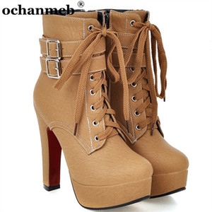 Largest Size 50 Women's Platform Ankle Boots Shoes Woman 12cm High Heels Metal Buckled Lace up Short Booties Lady Female Boot 33