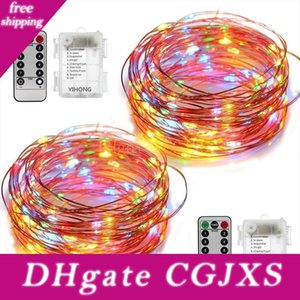 Diy Weihnachten 33ft führte Lichterketten Batteriebetriebene Lichter Multi Farbwechsel Schnur-Licht-Fernbedienung Wasserdichtes 16 .4ft Dekorative