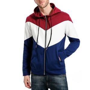 2020 Men's Full-Zip Hoodies Novelty Color Block Long Sleeve Hooded Top Mens Autumn Cozy Sport Outwear Sweatshirt M-XXL