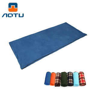 Aotu Adult Fleece Sleeping Bag Portable Outdoor Sleeping Bag Camping Travel Warm Ultralight Liner AT6109