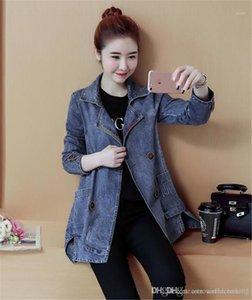 Coats Autumn Long Sleeve Lapel Neck Ladies Outerwear Casual Single Breasted Loose Womens Coats Denim Womens Trench