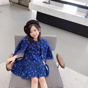 Yeni Bebek Kız Seti Sonbahar Çocuk Kız Ceket Yelek Elbise Ile 2 adet / takım Sevimli Desen Ceket Çocuk Tatlı Giysiler