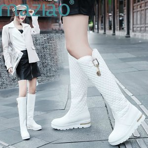 2020 Damen Schneestiefel kniehohe Stiefel Höhe zunehmende Fashion Round Toe Gummisohle Frau Lederschuhe Winter Black MAZIAO