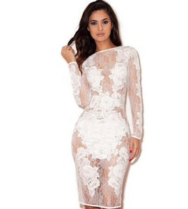 Atacado 2015-Sexy Clube Vestido Womens Mini Bodycon Party Dress Bandage Dresses mangas compridas Bodysuit Lace patchwork ver através Vestido