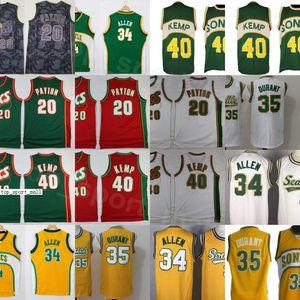 Мужчины Баскетбол Gary Payton Джетка 20 Кевин Дюрант 35 Шон Kemp 40 Ray Allen 34 Все сшитые команды красный желтый белый зеленый