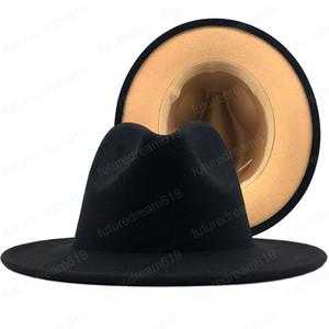 Nuevo exterior negro interior de lana de fieltro marrón de jazz del sombrero de ala con correa fina de la hebilla de los hombres de las mujeres del borde ancho del casquillo del sombrero flexible Panamá