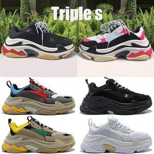 Мода Тройной платформы кроссовки мужчины женщины белый черный красный серый бежевый зеленый желтый старинные мужские Ourdoor случайные папаа ботинки США 6-12