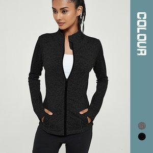 Slim Yoga Shirts Fitness Clothes Pocket Stand Collar Sports Jacket Elastic Zipper Autumn and Winter Long Sleeve Tight Jacket