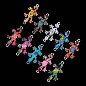 10pcs Mixed Color Gecko Charms Pendant Jewelry Making DIY Necklace Bracelet Beads Connectors DIY Jewelry Findings Festival Gift