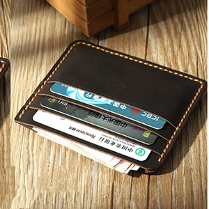 100% Handmade Vintage Genuine leather card holders men hoder women thin card ID Horder coin bag simple small wallet