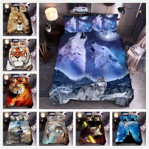 Copripiumino Set Animal lupo del leone della tigre di stampa del leopardo Quilt Cover 3D Digital Bed Duvet Quilt Cover Set Bedding Set 2020 Nuovo