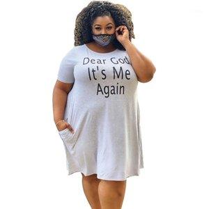 Damen Kleider Mode Letter-Muster-loses Shirt-Kleid-beiläufige kurze Hülsen-natürliche Farben-Kleider plus Größen-Frauen-Kleidung