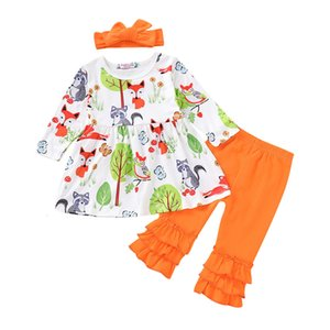 Clearance Excelent NEWEST lovely baby girls Toddler Infant Baby Girls Cartoon Fox Print Tops Dress Ruched Pants Outfits Set Z0214