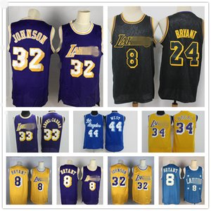 Vintage Los AngelesLakersBryant Jersey Jerry West MagicJohnson Shaquille O'Neal 34 Kareem 33 Abdul-Jabbar Basketbol Formalar