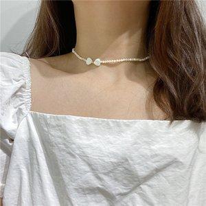Moda Altın Kaplama Boncuk Kalp Aşk İnci Oyster Shell gerdanlık kolye için Kadınlar Zinciri Smalll kolye Yaka Bohemian takı