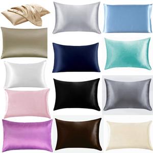 20 * 26 pouces en satin de soie Taie Home Ice Silk Taie d'oreiller Zipper Couverture Literie Coussin M2634