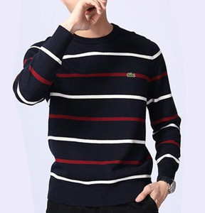 Men's Crocodile embroid Twisted Sweater Knitted Cotton Mens Sweaters Round neck Sweater Pullover Sweater Male