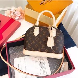 클래식 알마 BB 된 꽃 브라운 바둑판 크로스 바디 가방 패션 어깨 가방 클러치 핸드백 럭셔리 쉘 패키지 2020 새로운 메신저 A4