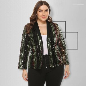 Casual Apparel 5XL Womens Sequins Designer Blazer Lapel Neck Long Sleeve Plus Size Summer Femael Clothing Suits