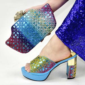 2020 Мода Дизайн Итальянский высоких каблуках обувь и сумки Set Hot Sale Женщина Обувь с открытым носком и сумка Для Match Набор для вечернее платье