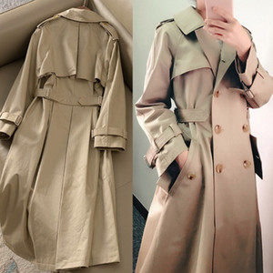 Kaki Manteau double-Trench Femmes 2020 printemps revers long coupe-vent Vêtements Femme en vrac Cape manteau de poussière Automne Outwear 95