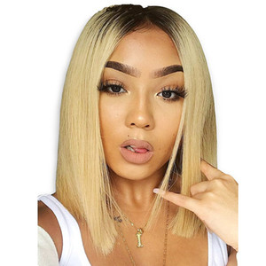 Peruvian Blonde Human Hair Wigs Short Bob Lace Front Wigs 130% Density 1B 613 Blonde Straight Wig