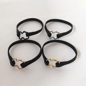 Cuero de venta de la manera mujeres de los hombres de color de plata de oro rosa de cobre de acero hueco del corazón Oso Negro pulseras Pulseras joyería