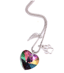 Heart Crystal Necklace Glass Color Paw Pendant For Lover Wings Hollow Dog Claw Pendant Necklace