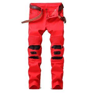 Ripped plissadas Jean calças dos homens Mcikkny Lavados Patchwork Motorcycle Denim Trousers do desenhador de moda masculina de Streetwear Calças