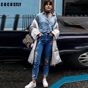 Jeans para mujer Streetwear vaqueros bordados de flores femeninas las mujeres de los pantalones vaqueros pantalones de cintura alta de otoño femme parte inferior más el tamaño