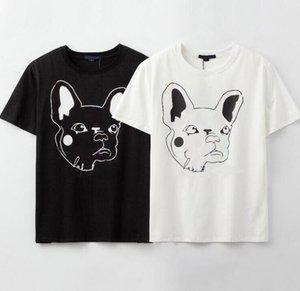 20SS Harf Geometrik Baskılı Moda tişört Köpek Desen Yaz Tee Erkekler Kadınlar Çiftler Sokak Kısa Kollu Mürettebat Boyun Homme Giyim