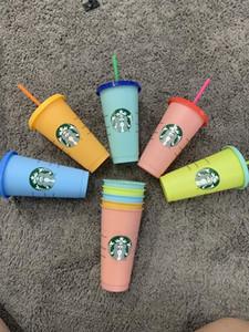 Cambio de color 24 oud Tumblers de bebida de plástico Taza de jugo con labios y paja Magic Taza Costom Starbucks Color cambiante de la taza de plástico (1set = 5