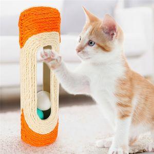 Sisal Cat Scratching Board Roller Bell Ball Cat Toy Colorful Ball Interactive Pet Kitten Scratch Training Pet Supplies Product