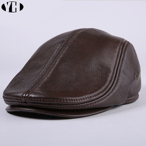 2020 genuíno real chapéu de couro beisebol Cap marca de Brand New Men bonés Vendedor de jornais / Beret Hat inverno quente chapéus couro tampa T200819