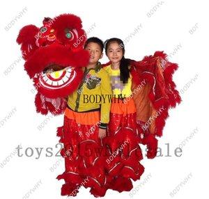 Народное искусство Китайский лев танец костюм талисмана Pure Wool Southern Lion Танцы для двоих детей Halloween Parade Реклама Fancy Dr