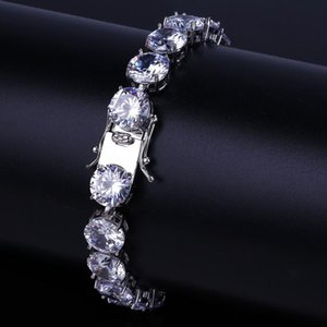 10MM Zircon Tennis Bracelets Jewelry 2019 New Fashion Luxury Exquisite Grade Quality Platinum Plated Hip Hop Bracelets For Men Women LBR077