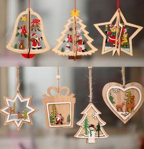 2D 3D рождественские деревянные висячие Подвески выдолбить Star Xmas Tree Белл Рождественский орнамент Главная партия украшения GGA3679-7