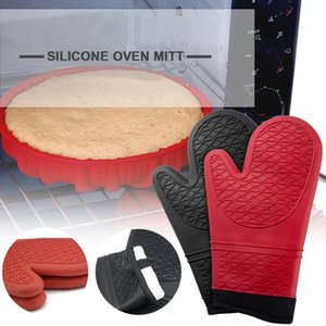 Silicone Gloves Oven Heat Insulated Finger Gloves Cooking Microwave Non-slip Gripper Pot Holder Kitchen Baking Tools